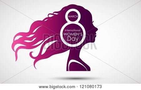 Women's Day greeting card on purple background with design of a women face and text 8th March Women