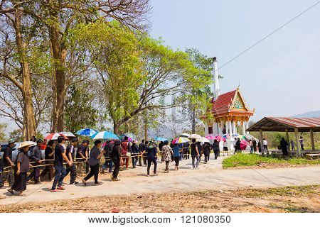 CHIANG RAI THAILAND - MARCH 2 : Unidentified people in black walking to the tomb for Christian funeral rites on March 2 2016 in Chiang rai Thailand.