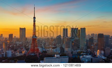 Tokyo Tower with Cityscape of Tokyo in Twilight