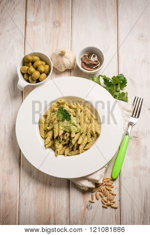 pasta with pesto anchovies and green olives