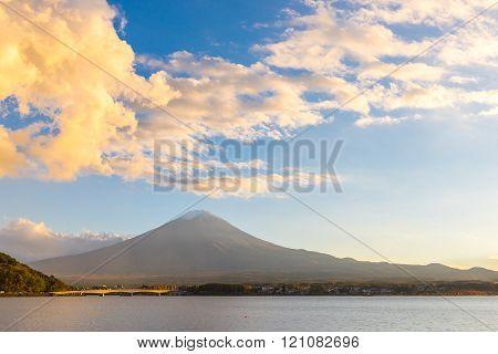 Mountain Fuji the highest mountain in Japan. View from Lake Kawaguchi (Kawaguchigo)