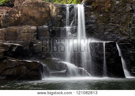 Motion photo of the Khlong Yai Ki waterfall in Ko Kood island, Thailand