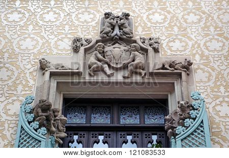 BARCELONA, SPAIN - JULY 31, 2015: Detail of Casa Ametller facade - one incredible and modernistic building in Barcelona, Spain