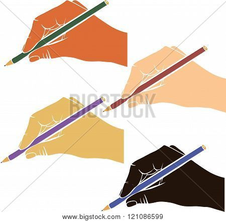 writing hands with pencils