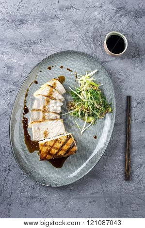 Swordfish Steak Teriyaki with vegetable on Plate