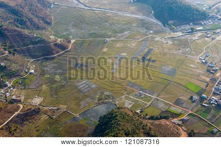Aerial view of fields near Pokhara, Nepal