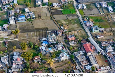 Suburbs of Pokhara aerial view, Nepal