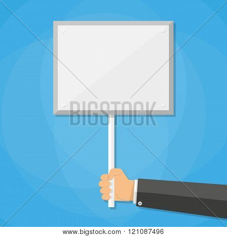Cartoon businessman hand holding empty sign plate with space for text, vector illustration in flat d