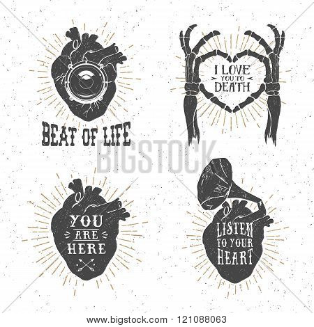 Romantic Posters With Human Heart, Skeleton Hands, Gramophone Horn, Stereo Speaker, And Lettering.