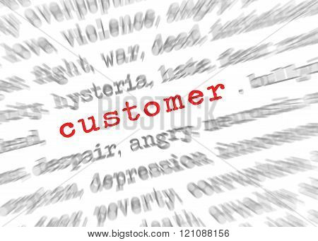 Blured text zoom effect with focus on customer