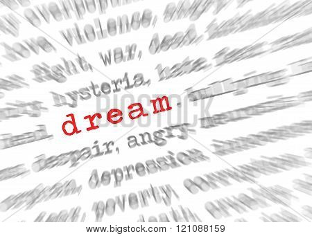 Blured Text Zoom Effect With Focus On Dream