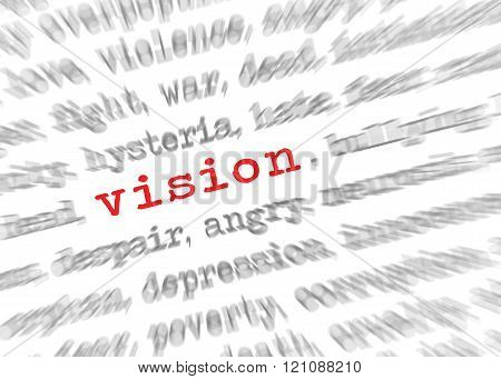 Blured Text Zoom Effect With Focus On Vision