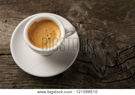 Espresso Coffee Cup With Foam On Top View