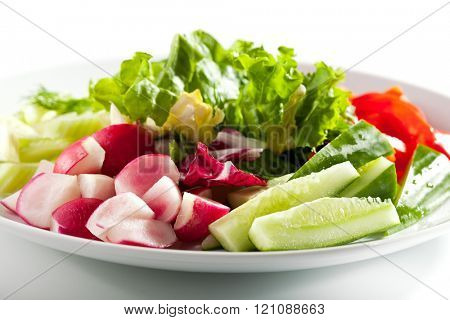 Fresh Vegetables Plate with Greens