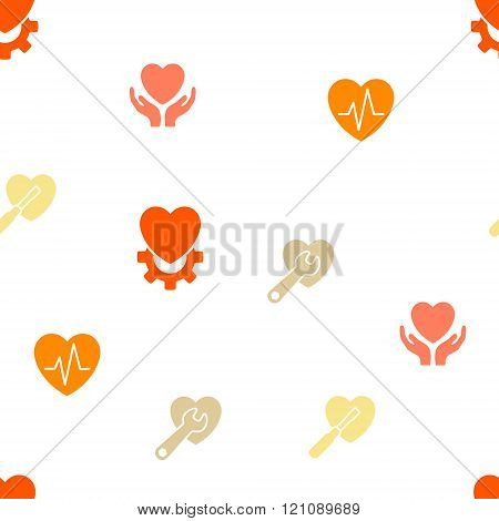 Cardiology Seamless repeatable pattern. Style is flat vector symbols on a white background.