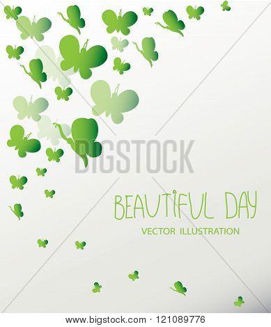 background with green parkowski butterflies