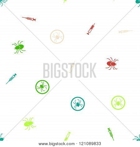 Encefalite Vaccination Seamless Flat Vector Pattern