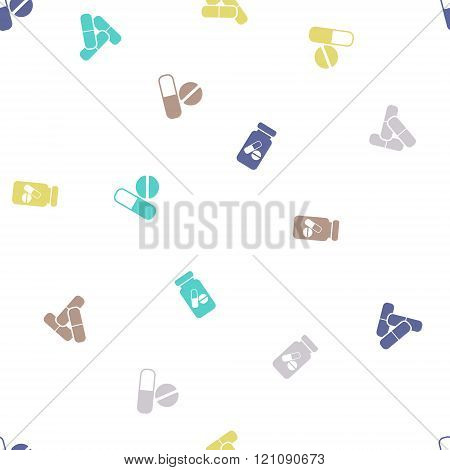 Pills Seamless Flat Vector Pattern