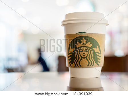 Bangkok ,Thailand-August 22 : Starbucks Hot beverage coffee on table on 22 August 2014 at The mall department store, Bangkok, Thailand.