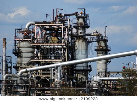 close view of petrochemical factory