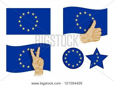 European Union flag icons set. vector illustration
