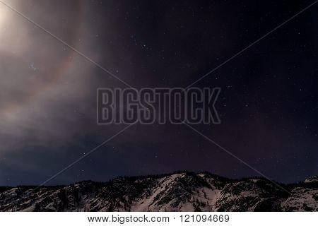 Mountains Star Moon Halo Sky