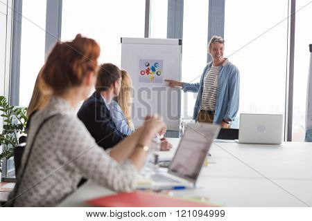 Business man pointing at charts on flip chart during the meeting in modern office.
