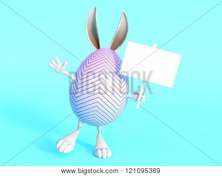 Cute Easter Bunny Egg With Sign.
