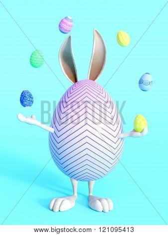 Cute Easter bunny egg juggling easter eggs.