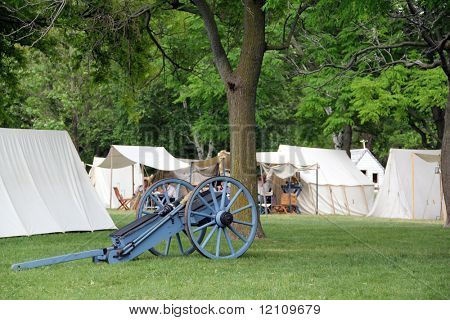 STONEY CREEK, ON-JUNE 4: American soldiers relax in their tents before start of reenactment of the war of 1812 Battle of Stoney Creek, June 4, 2010 in Stoney Creek, ON