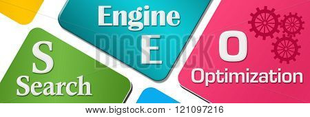 SEO Colorful Rounded Squares Horizontal