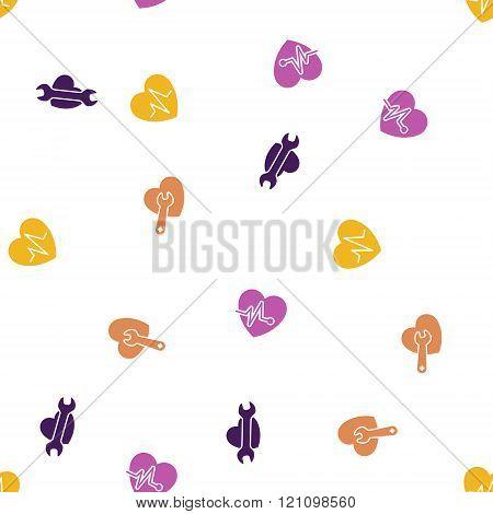 Cardiology Seamless Flat Glyph Pattern