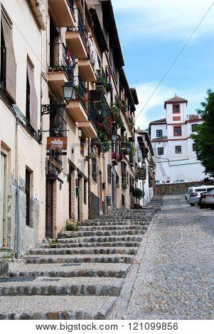 Steep street in the Albaicin, Granada.