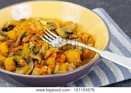Baked Pumpkin with Mushrooms and Vegetables. Vegetarian Food