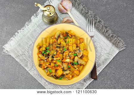 Baked Pumpkin with Mushrooms and Vegetables. Vegetarian Food