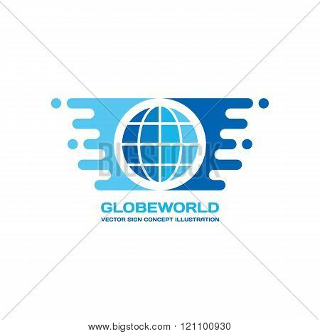 Globe world - vector logo concept illustration in flat style design. Travel logo sign.
