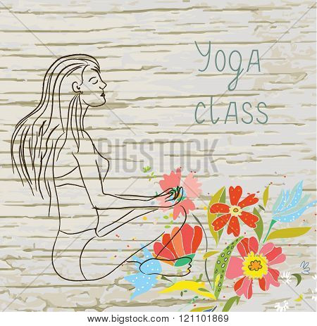 Yoga Class Background With Woman And Floral Texture -  Illustration