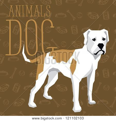 Vector geometric dogs collection with seamless background. American Bulldog