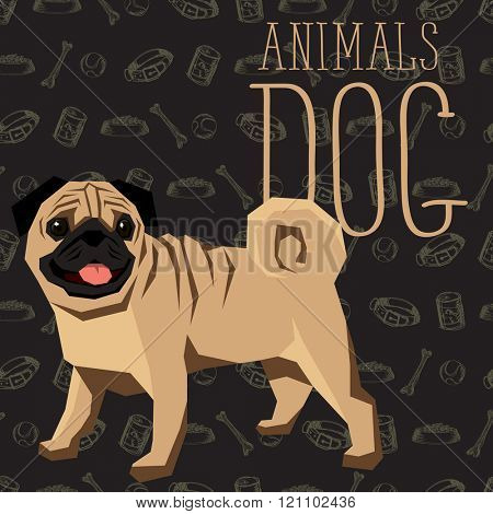 Vector geometric dogs collection with seamless background. Pug