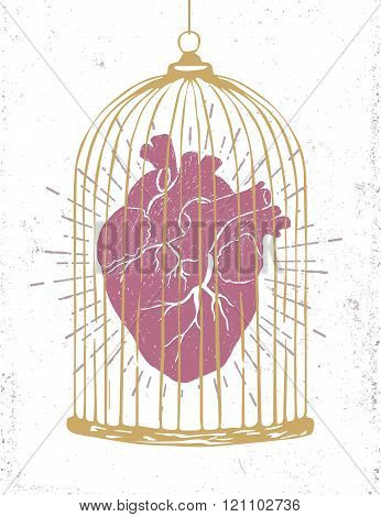 Romantic Poster With A Human Heart In A Cage.