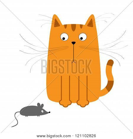 Cute Red Orange Cartoon Cat Looking At Mouse. Big Mustache Whisker. Funny Character. Flat Design. Wh