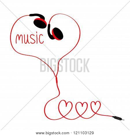 Earphones And Red Cord In Shape Of Three Hearts. Word Music. White Background. Isolated. Flat Design