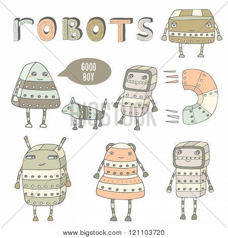 Cute hand drawn doodle steam punk robots collection