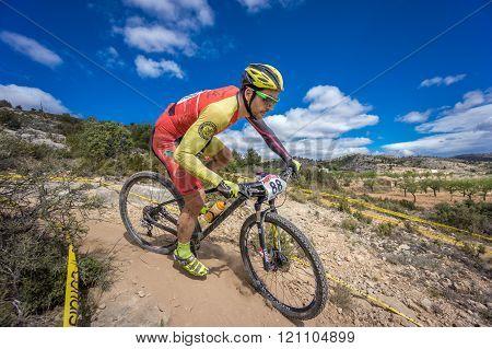 VALENCIA - MARCH 6: Jose Luis Ruiz Dorado rider participates in international Chelva MTB-XCO competi