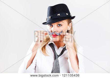Woman with fake mustache