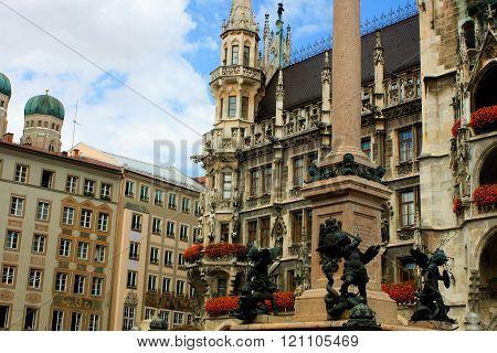 Munich City, Germany And Famous Marienplatz
