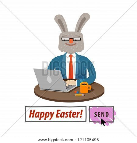 Happy Easter Message Template with Easter Bunny
