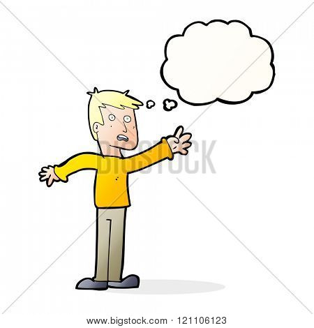 cartoon worried man reaching with thought bubble