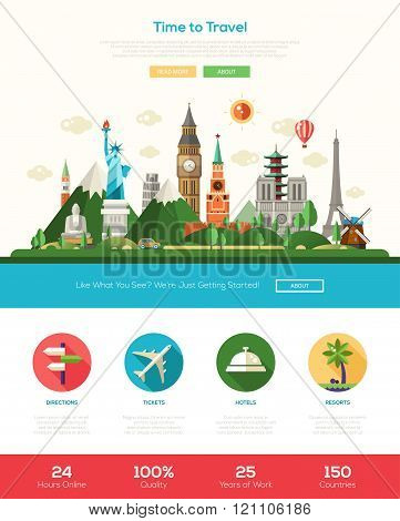 Flat design travel website header banner with webdesign elements