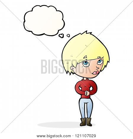 cartoon woman considering with thought bubble